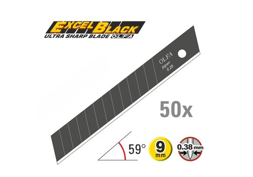 OLFA® 120-ABB-50 9mm Schwarz Ultra-Sharp Klingen -50er Pack
