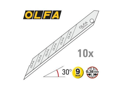 OLFA® 120-SAB10 9mm Klingen 30° Super Sharp -10er Pack