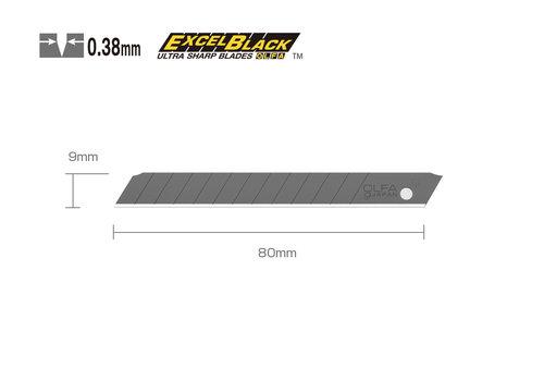 OLFA® 120-ASBB-10 9mm Black Snap-Off Blades 10 Stück