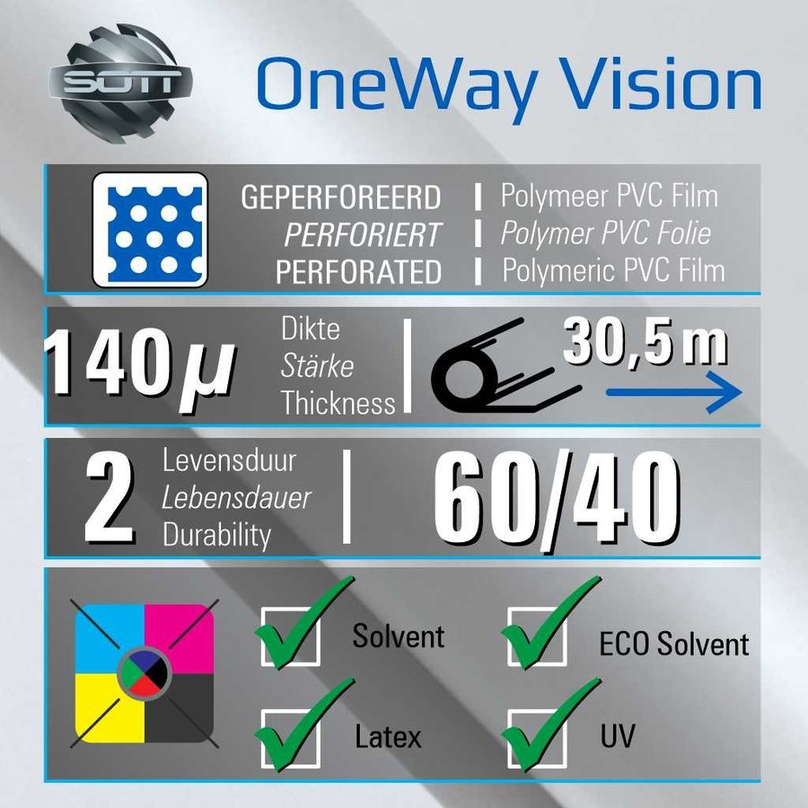 DP-One-Way Vision Film Perforated 60/40 -152-2