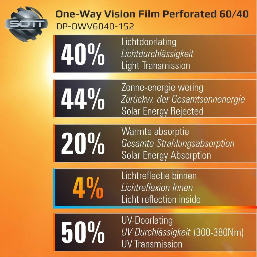DP-One-Way Vision Film Perforated 60/40 -152-3