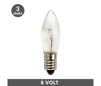 ET48 Kerst kaarslamp helder geribd E10 3 Watt 8 Volt