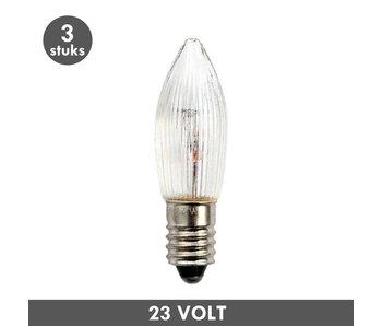 ET48 Kaars kerstlampje helder geribbeld E10 3 Watt 23 Volt