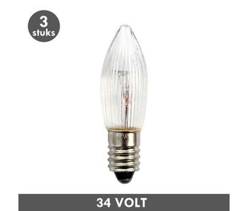 ET48 Candle clear rib E10 3 Watt 34 Volt