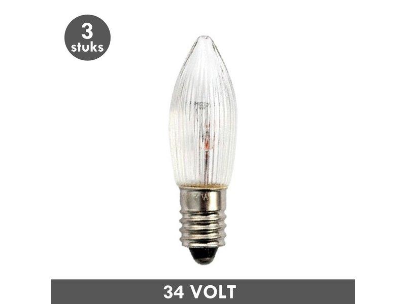 ET48 Christmas candle lamp clear ribbed E10 3 Watt 34 Volt