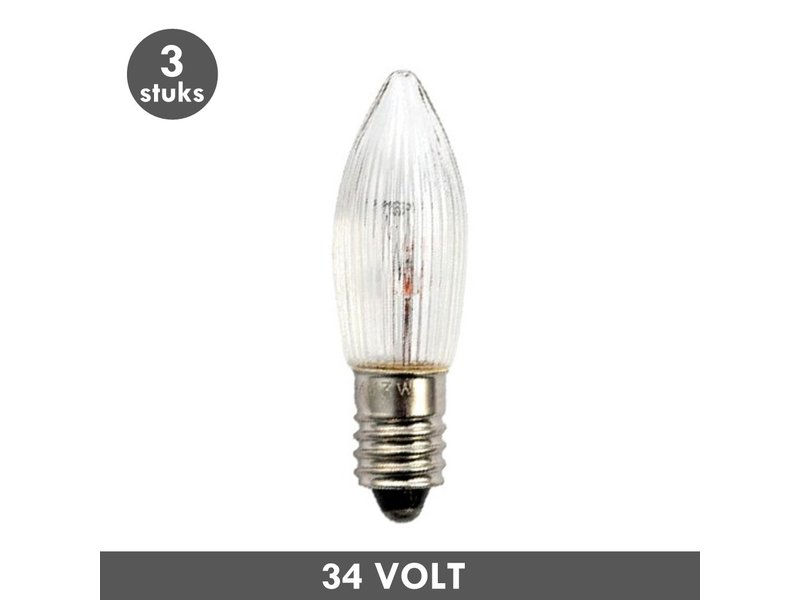 ET48 Kerst kaarslamp helder geribd E10 3 Watt 34 Volt
