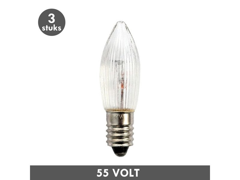 ET48 Kerst kaarslampje helder geribbeld E10 3 Watt 55 Volt