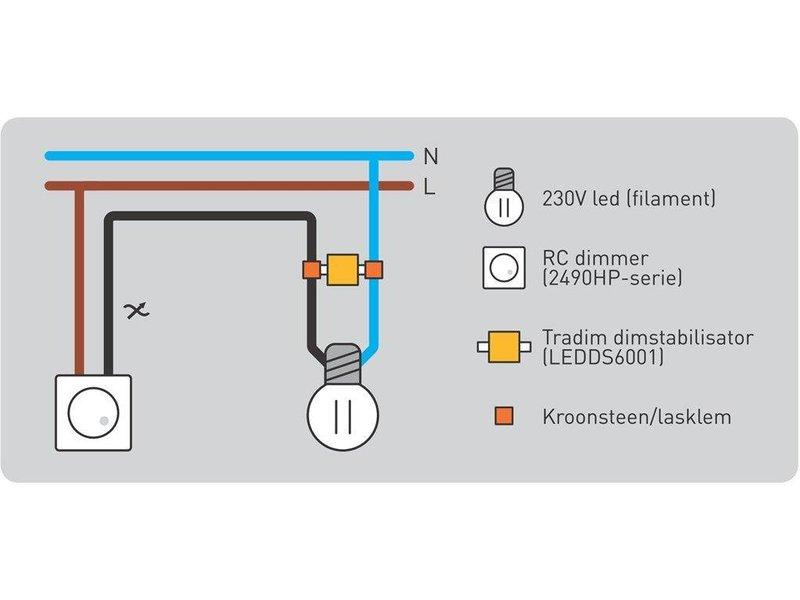 Tradim LED filament dimming stabilizer