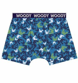 Woody Jongens short, blauw 'W' all-over print