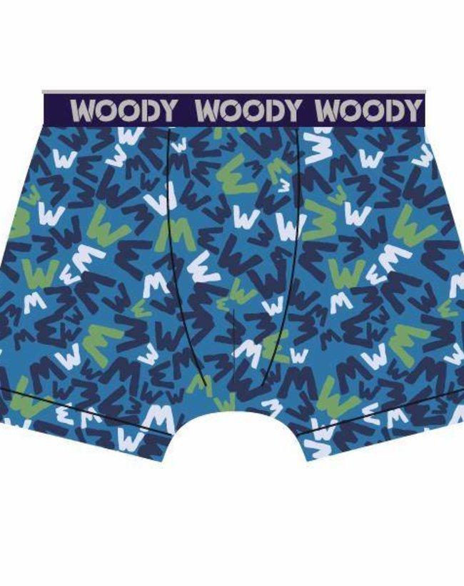 Woody Jongens short, blauw 'W' all-over print