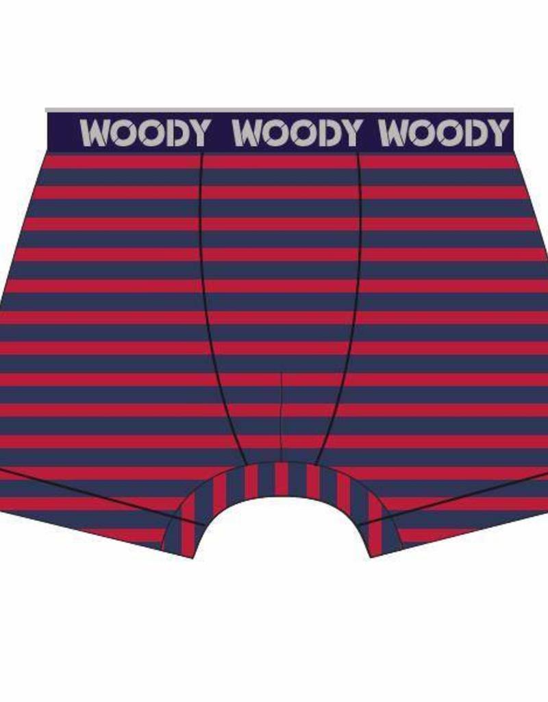 Woody Jongens short, rood-donkerblauw gestreept