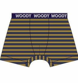 Woody Jongens short, donkerblauw-oker gestreept