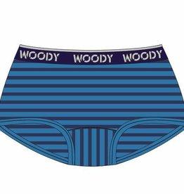 Woody Meisjes short, blauw-donkerblauw gestreept