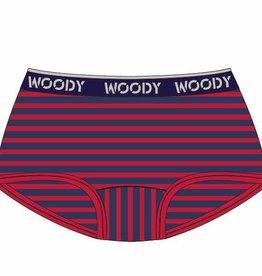 Woody Meisjes short, rood-donkerblauw gestreept