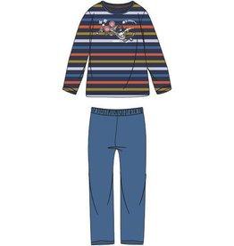 Woody Jongens-Heren pyjama, donkerblauw-oranje-oker gestreept