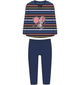 Woody Meisjes pyjama, donkerblauw-oranje-oker gestreept