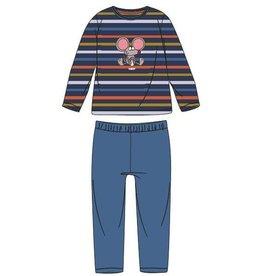 Woody Jongens pyjama, donkerblauw-oranje-oker gestreept