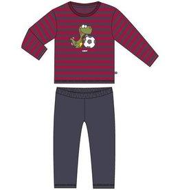 Woody Unisex pyjama, rood-donkergrijs gestreept