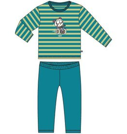 Woody Unisex pyjama, groen-turquoise gestreept