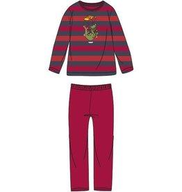 Woody Jongens-Heren pyjama, rood-donkergrijs gestreept