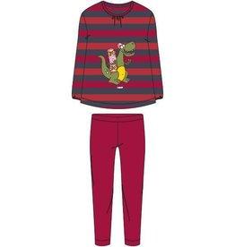 Woody Meisjes-Dames pyjama, rood-donkergrijs gestreept
