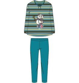 Woody Meisjes-Dames pyjama, groen-turquoise gestreept