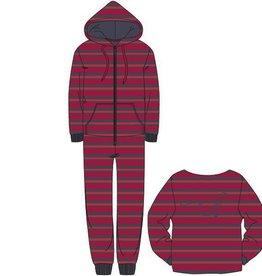 Woody Unisex onesie velours, rood-donkergrijs gestreept