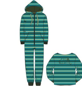 Woody Unisex onesie velours, groen-turquoise gestreept