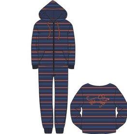Woody Unisex onesie velours, blauw-oranje gestreept