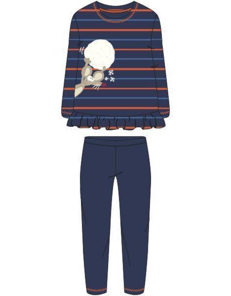 Woody Meisjes-Dames pyjama, blauw-oranje gestreept