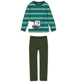 Woody Jongens-Heren pyjama, groen-turquoise gestreept