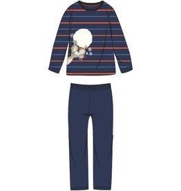 Woody Jongens-Heren pyjama, blauw-oranje gestreept