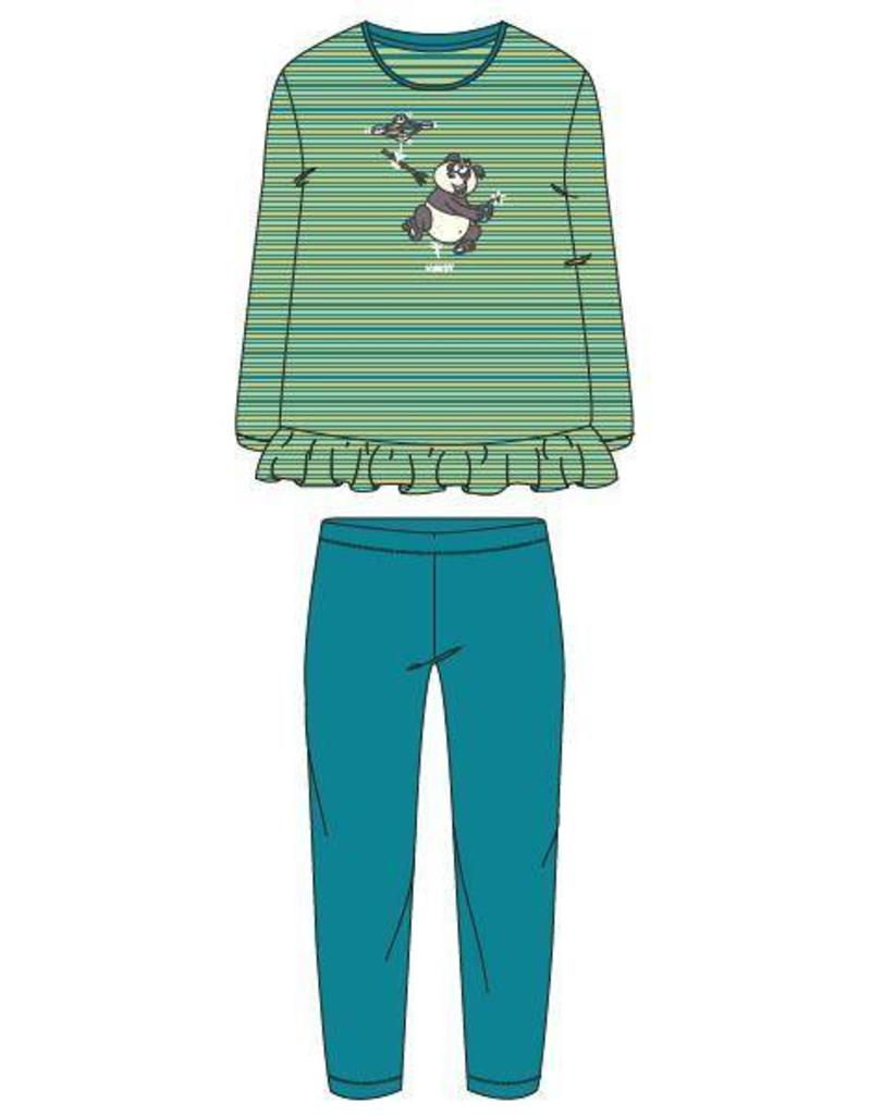 Meisjes Dames Pyjama Groen Turquoise Gestreept Filati Webshop Woody