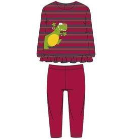 Woody Meisjes pyjama, rood-donkergrijs gestreept