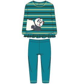 Woody Meisjes pyjama, groen-turquoise gestreept
