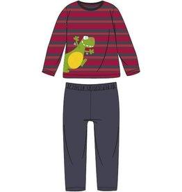 Woody Jongens pyjama, rood-donkergrijs gestreept