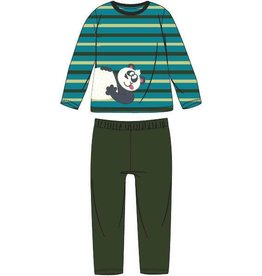 Woody Jongens pyjama, groen-turquoise gestreept