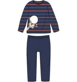 Woody Jongens pyjama, blauw-oranje gestreept