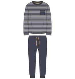 Woody Jongens-Heren pyjama, donkerblauw-grijs