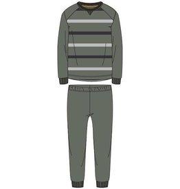 Woody Jongens-Heren pyjama, kaki groen gestreept