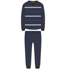 Woody Jongens-Heren pyjama, donkerblauw-grijs gestreept