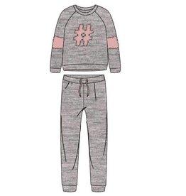 Woody Meisjes-Dames sweater en broek, zachtroze