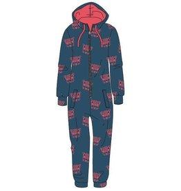 Woody Meisjes-Dames onesie velours, petrol luipaardkopjes all-over print