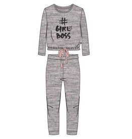 Woody Meisjes-Dames pyjama, light grey melange
