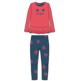 Woody Meisjes-Dames sweater en broek, koraalrood