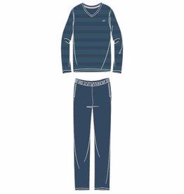 Woody Heren pyjama, groen-petrol gestreept