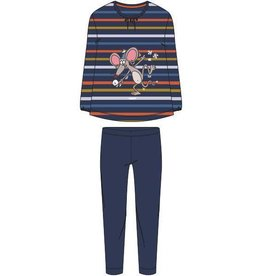 Woody Meisjes-Dames pyjama, donkerblauw-oranje-oker gestreept