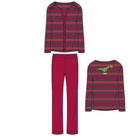 Woody Dames pyjama, rood-donkergrijs gestreept