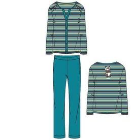 Woody Dames pyjama, groen-turquoise gestreept