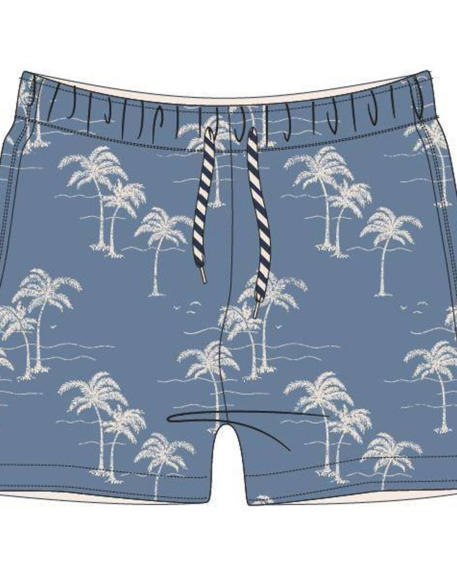 Woody Jongens-Heren zwembroek, palm denimblauw  all-over print